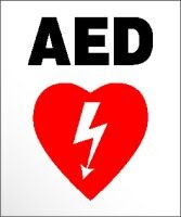 AED sign with litghening bolt