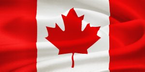 Flag of Canada waving in the wind. Silk texture pattern